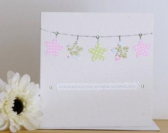 Wedding flowers greeting card - flower bunting Wedding Card - personalised wedding card