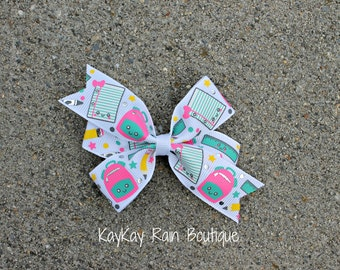 School Supplies Hair Bow - 3 Inch Hair Bow - Girls Hair Bow - Baby Hair Bow - Back To School Hair Bow - School Supplies - Pencil - Paper