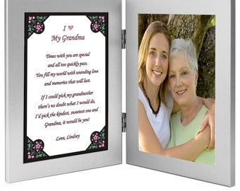 grandmother birthday gift from grandchild or grandchildren grandma poem in double frame add photo 70 209