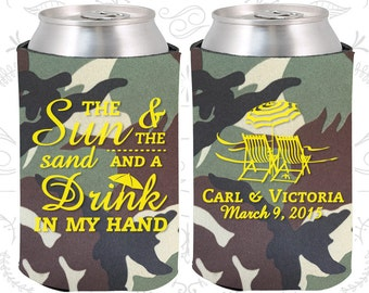 Camouflage Wedding, Can Coolers, Camouflage Wedding Favors, Camouflage Wedding Gift, Camouflage Party Gift (353)