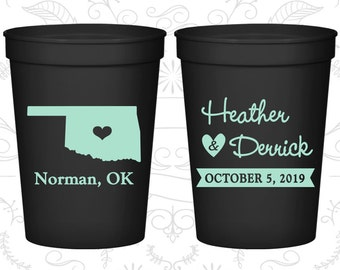 Oklahoma Wedding Cups, Oklahoma Wedding, Personalized Drink Cups, Destination Wedding, State Cups, Plastic Party Cups (135)