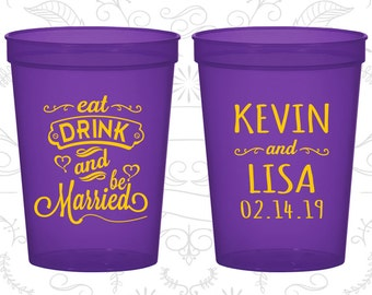 Eat Drink and Be Married Wedding Cups, Wedding Cups, Hearts, Wedding Cup Favors (239)