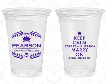 Keep Calm and Marry On, Wedding Clear Cups, Royal Wedding, Floral Wedding, Romantic Wedding, Clear Plastic Cups (598)