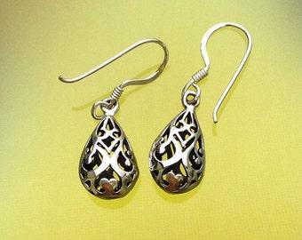 925 Solid Sterling Silver TEARDROP BASKET Earrings/Dangling/Hook/Oxidized/Filigree Earrings/Tear drop Earrings