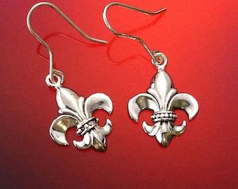 925 Solid Sterling Silver  FLEUR DE LYS Earrings-Dangle-Polished-Fleur de Lis Silver Earrings