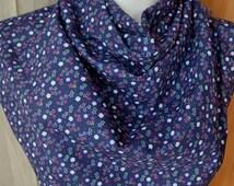 Vintage cotton navy small flowers print large bandana square scarf