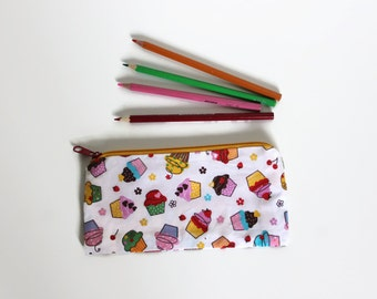 """Zippered pencil pouch """"sweet cupcakes"""", zip pouch with sweets, sweet tooth gift, colorful pencil case muffins, desserts"""