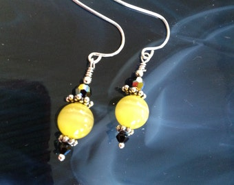 Yellow Cats Eye & Crystal Sterling Silver Earrings (E11)
