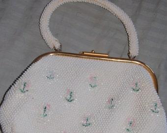 1950's 1960's reversible beaded purse. Black / white.