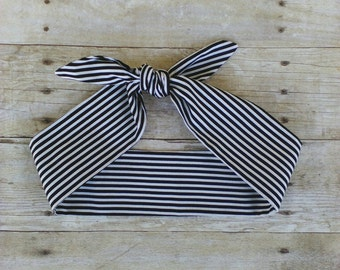 Black and white stripe headband bandana hair tie retro pinup rockabilly style!