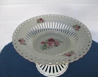 Vintage Formalities Porcelain Floral Lattice Pierced Pedestal Fruit Bowl By Braun Brothers Table Centerpiece Table Decor Home Decor Kitchen