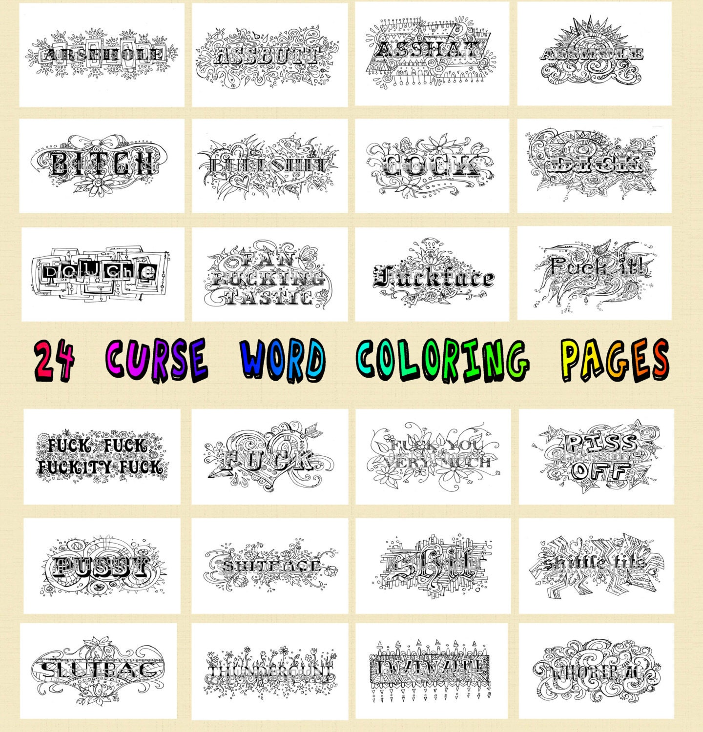 Free printable coloring pages with words - Swear Word Coloring Book 24 Pages Swear Coloring Pdf Jpeg Curse Word Coloring Curse Coloring Book