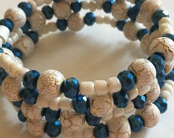 Navy and ivory wrap bracelet