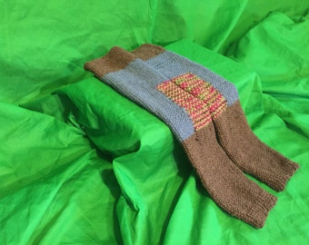 Knitte Leg Warmers, Blue Brown and Multi-colored