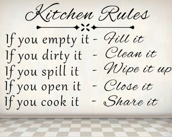 Kitchen Rules Wall Decal, Vinyl Wall Decal, Kitchen Decor, Kitchen Sign,  Kitchen
