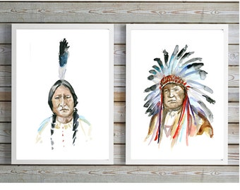 Indian Art - Indians Watercolor Painting - Art Print - headdress Art - Native American Art - Aquarelle Watercolour chief indian Portrait Art