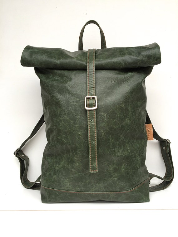 Leather backpack green, rolling backpack , backpack leather , green leather backpack