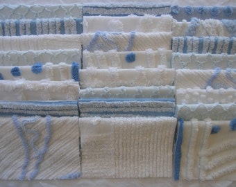 "24 Vintage Chenille Bedspread Fabric Squares 6.5""x6.5"" Blue and White...(s28)"