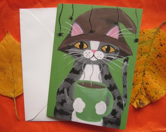 Grey Tabby Cat Halloween Greeting Card, Halloween Cat Card, Grey Tabby Cat Greeting Card by Amber Maki