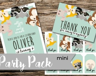 Digital , Printable, Birthday, Cute Critters 1 (Mini) Party Pack - Invite, Thank you, Tags