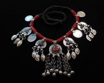 N4227- Vintage Beaded Tribal Kuchi Coin Necklace - Afghani Ethnic Boho Statement Necklace