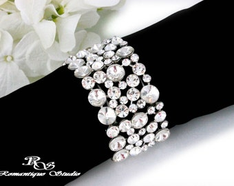 Bridal bracelet statement bracelet cuff crystal wedding bracelet vintage style prom rhinestone bracelet bridesmaid bracelet - B0158