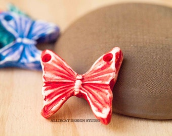 Handmade Rustic Polymer Clay Butterfly Pendant - Red