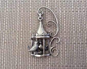 Lang Lovebirds Bird Cage Sterling Silver Brooch