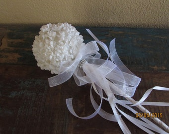 white fariy wand flower girl basket party wand
