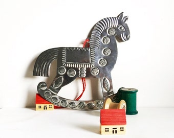 Vintage tin horse mexican folk art horse embossed tin vintage nursery decor