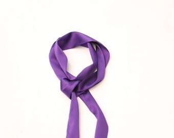 purple skinny scarf in silk charmeuse