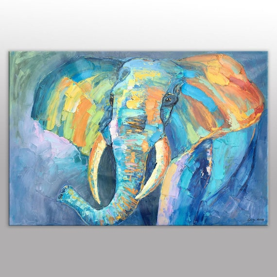 Large Canvas Wall Art Oil Painting Original Elephant