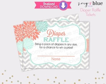 Floral Diaper Raffle Tickets Mint Coral Chevron Girl Baby Shower Games Printable Diaper Raffle Ticket DIY Printable File INSTANT DOWNLOAD