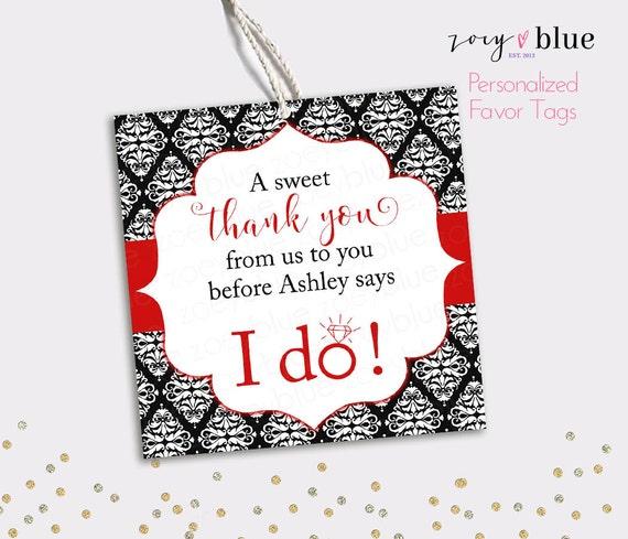 Bridal Shower Favor Tag Black Red Bridal Thank You Tags