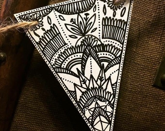 Small black on white handmade wooden bunting