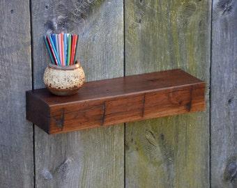 Walnut Floating Shelf From Reclaimed Beam 21 x 6.5