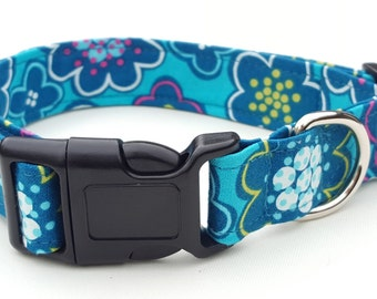 Dog Collar - Bright Blue and pink Flower Design Fabric