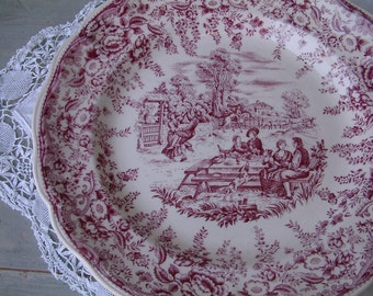 French vintage mulberry transferware round serving platter. Lunéville. Mulberry transferware. French transferware. Raspberry dark pink