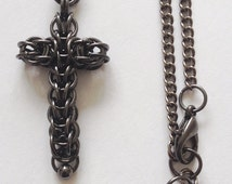 Cross Pendant Necklace, Antique Black Chainmaille Pendant, Persian Cross Jewellery, Friendship Cross Pendant, Religious Gift, Birthday Gift