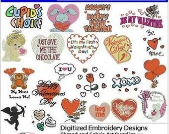 Embroidery Design CD - Valentine's Day(1) - 21 Designs - 9 Formats - Threadart