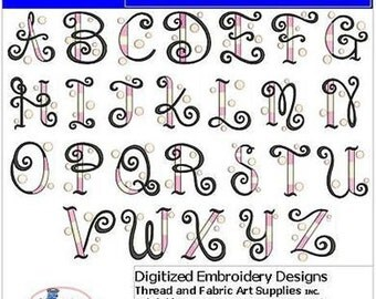 Embroidery Design CD - Bubble Alphabet(1) - 26 Designs - 9 Formats - Threadart