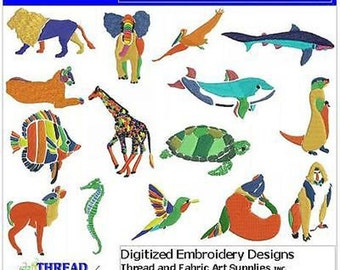 Embroidery Design CD - Folk Art Animals(1) - 15 Designs - 9 Formats - Threadart