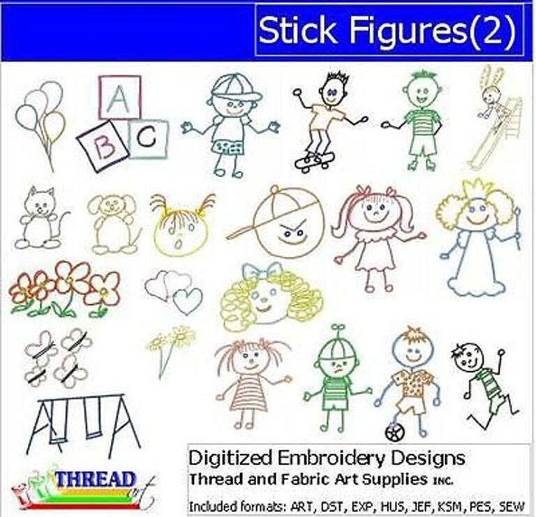 embroidery design cd - stick figures 2  - 22 designs - 9 formats