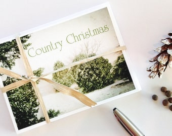 Christmas Cards, Country Christmas Cards, Winter, snowy landscape, white, green, primitive, Fine Art Photography