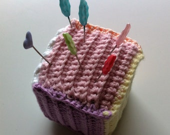 Crochet cube, crochet pincushion, sewing accessory
