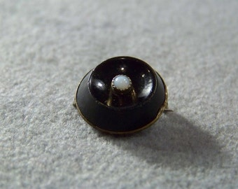 Vintage 12 K Yellow Gold Filled Round Black Onyx Opal pin brooch W Jewelry **RL