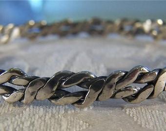 Vintage Sterling Silver Big Wide Twisted Braided Bangle Bracelet    **RL