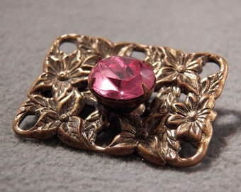 Vintage Gold Tone Square Shaped Brooch w/Pretty Pink Stone, So Beautiful!~~ **RL