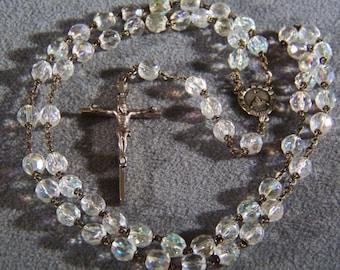 Vintage Silver Tone Italian aurora borealis glass bead rosary cross **RL