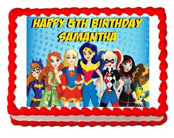 Superhero girls Super hero girls party decoration edible cake image cake topper frosting sheet